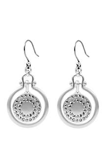 Lucky Brand Brushed Pave Orbital Drop Earrings
