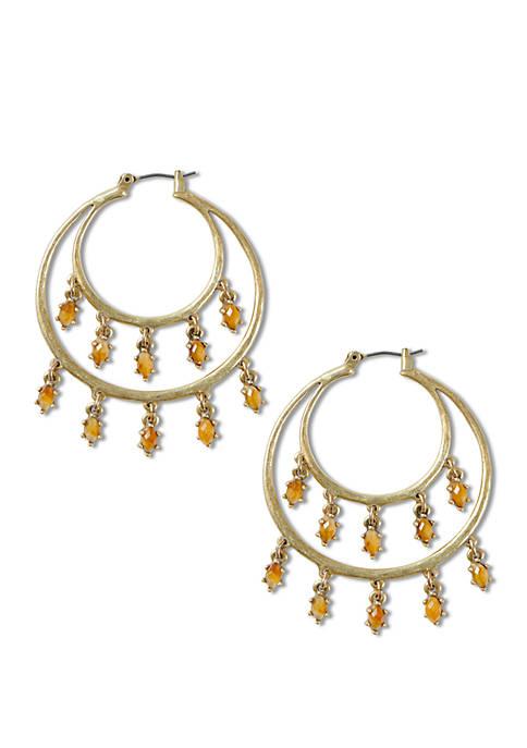 Lucky Brand Citrine Set Stone Shaky Hoop Earrings