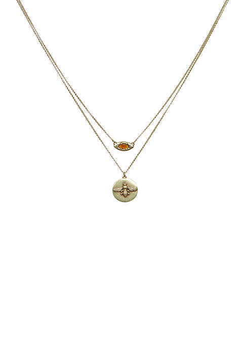 Citrine Bee Layered Necklace