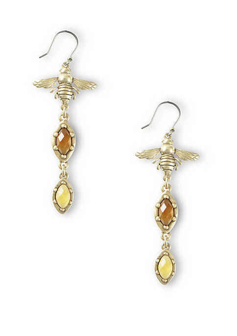 Lucky Brand Citrine Bee Coin Drop Earrings