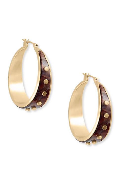 Lucky Brand Acetate Gold Rivet Hoop Earrings