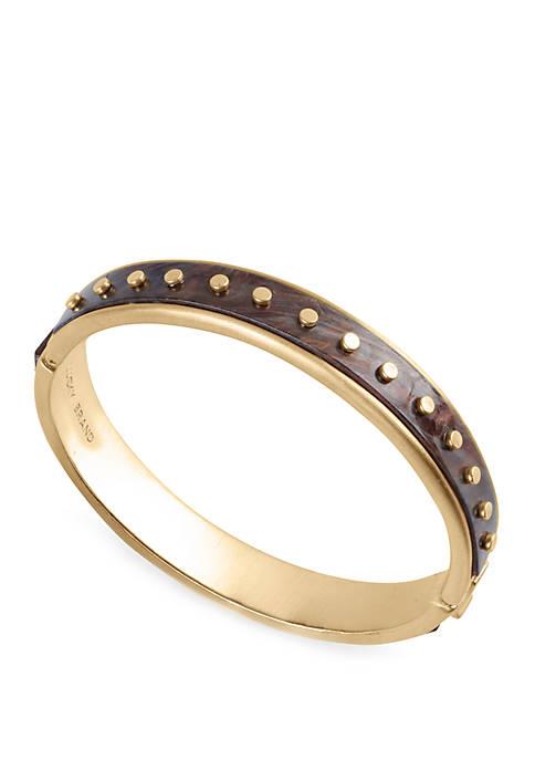 Lucky Brand Acetate Gold Rivet Bangle Bracelet