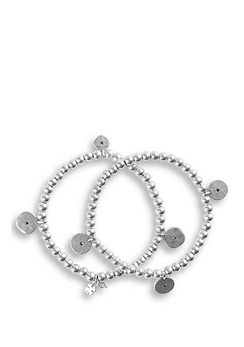 Lucky Brand Hammered Disc Beaded Bracelet Set