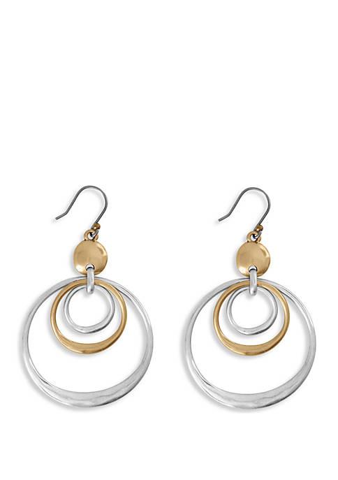 Two Tone Stud Orbital Earrings