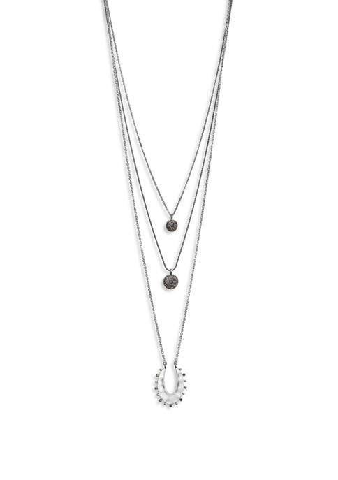 Lucky Brand Pave Pendant Lucky Layer Necklace