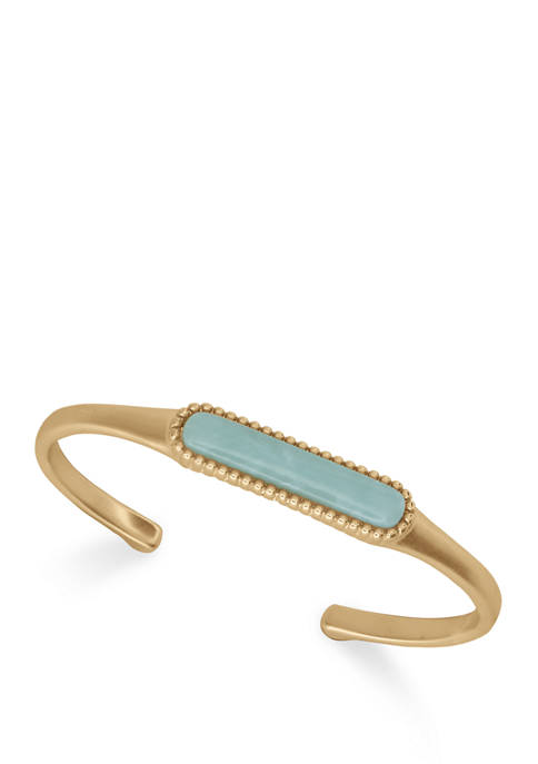 Lucky Brand Gold Tone Amazonite Cuff Bracelet