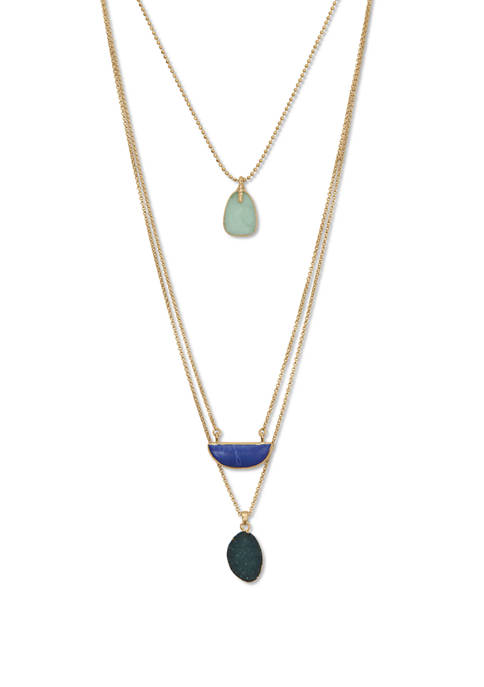 Lucky Brand Set Stone Layered Necklace