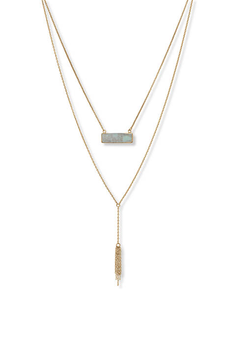 Lucky Brand Simple Set Stone Bar Necklace