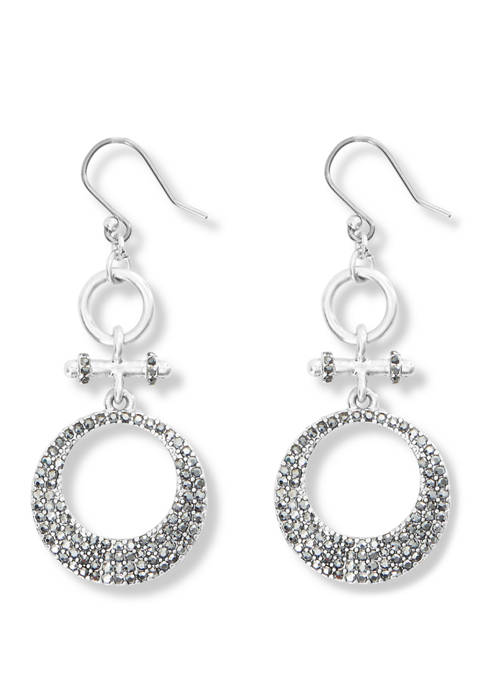 Lucky Brand Pave Circular Double Drop Earrings