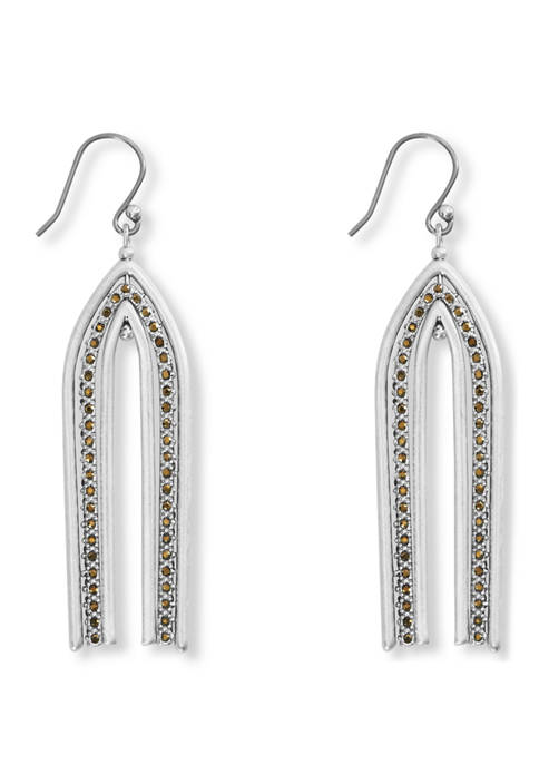 Lucky Brand Pave Arch Drop Earrings