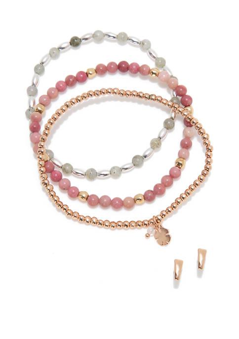 Lucky Brand Triangle Stud and Beaded Bracelet Set