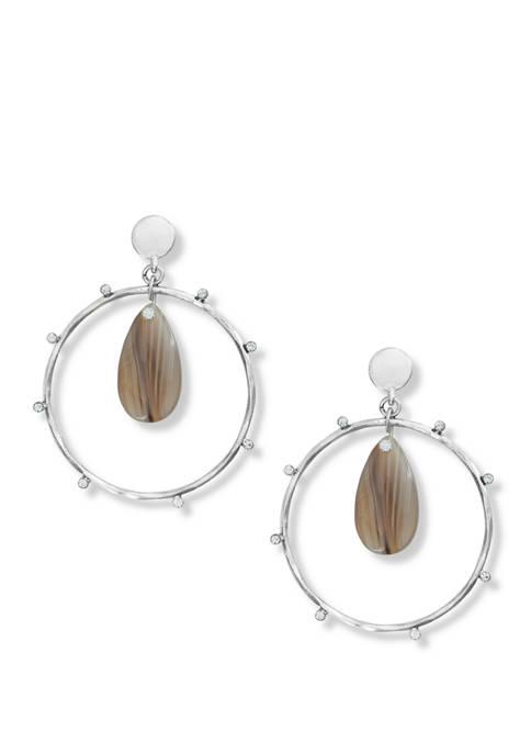 Lucky Brand Brown Agate Hoop Earrings