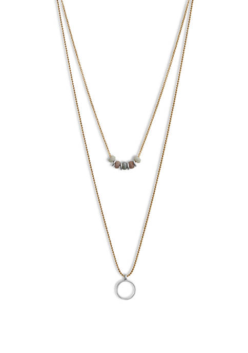 Lucky Brand Layer Bead and Pendant Necklace
