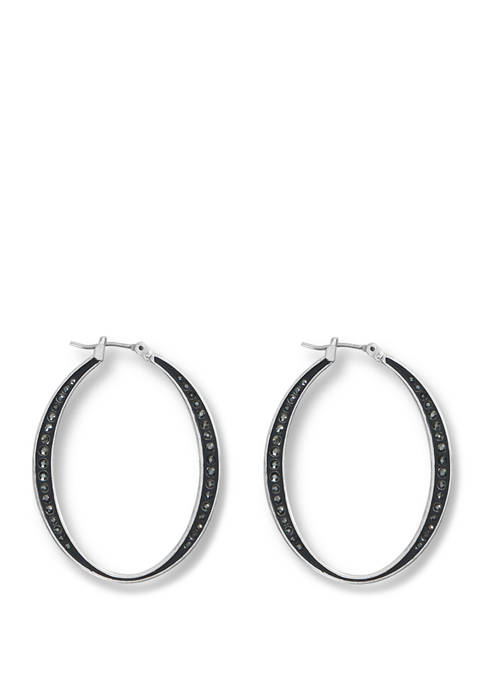 Gold Oval Pave Hoop Earrings