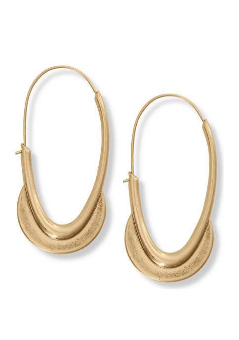 Hammered Metal Crescent Drop Earrings