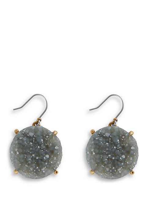 Lucky Brand Gray Druzy Drop Earrings