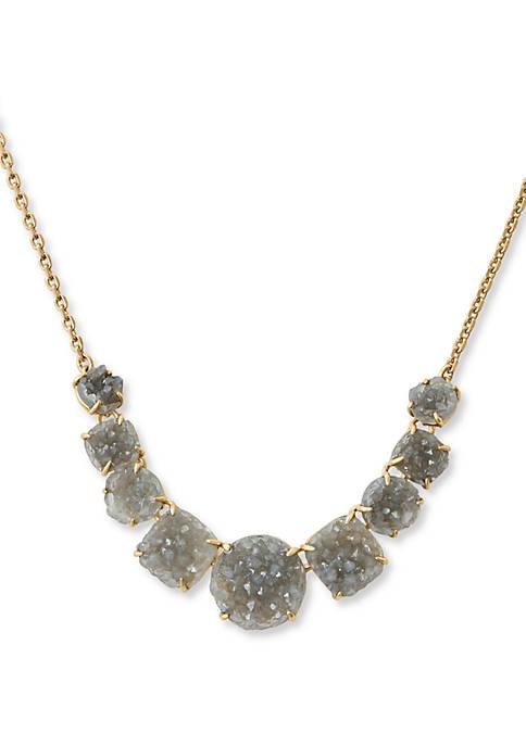 Lucky Brand Gray Druzy Collar Necklace
