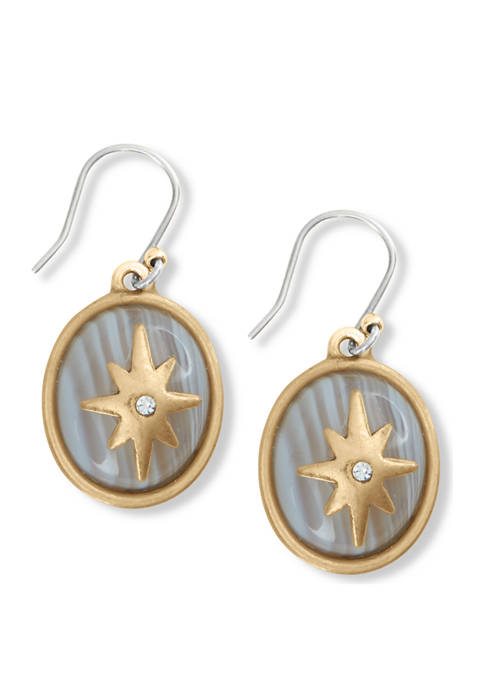 Lucky Brand Star and Pave Overlay Drop Earrings
