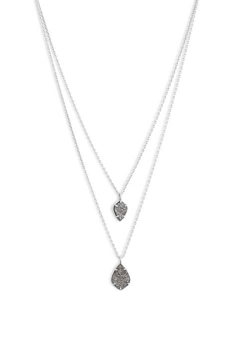 Lucky Brand Diamond Druzy Layered Pendant Necklace
