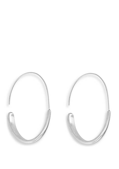 Brushed Silver Tone Modern Hoop Earrings