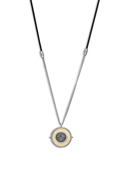 Lucky Brand Reversible Pave and Metal Leather Pendant