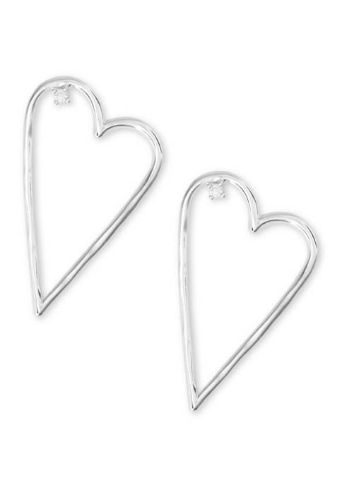 Lucky Brand Silver-Tone Open Heart Earrings