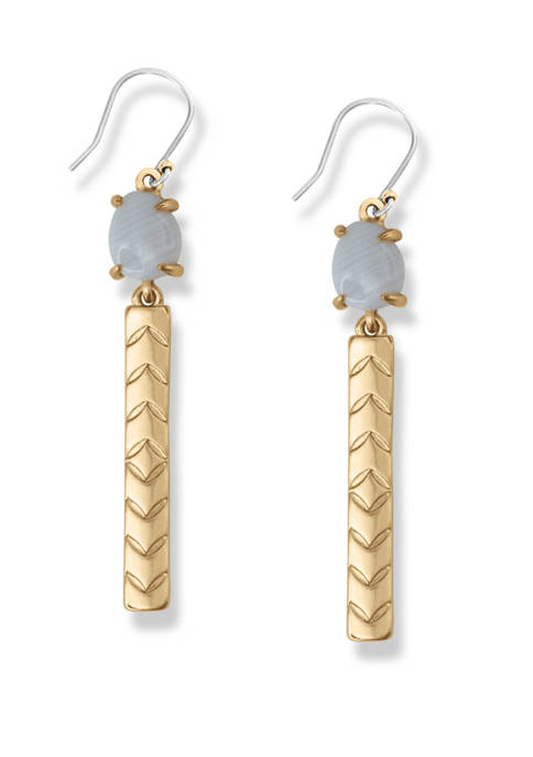 Lucky Brand White Agate Stone and Bar Drop