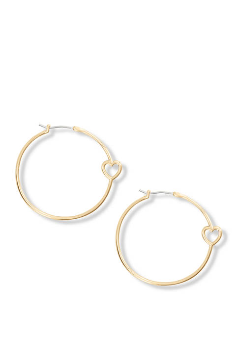 Silver Hoop Earrings with Heart Inlay
