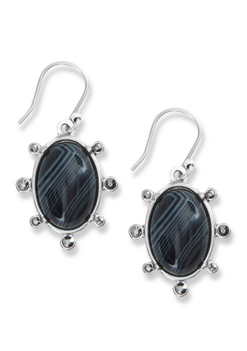 Lucky Brand Black Agate and Pave Drop Earrings