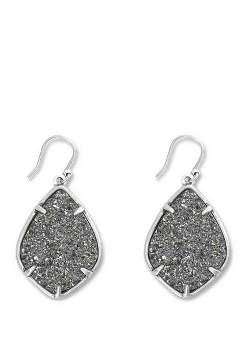 Large Druzy Diamond Drop Earrings