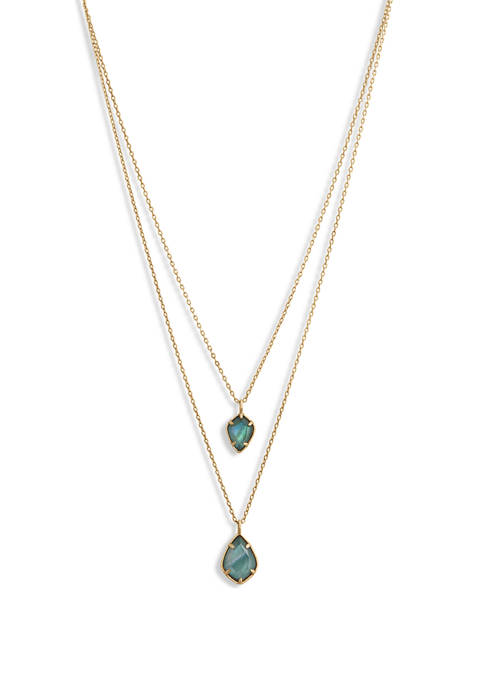 Emerald Green Layered Pendant Necklace