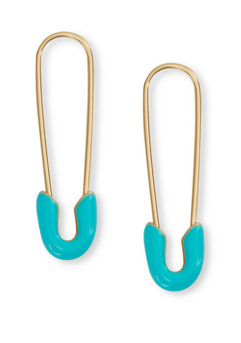 Lucky Brand Gold Tone Safety Pin Earrings