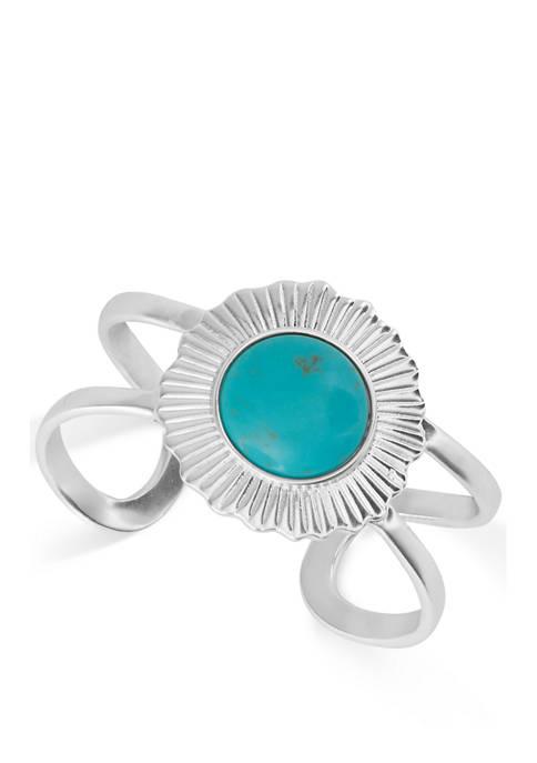 Silver Tone Turquoise Cuff Bracelet