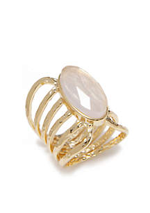 Rose Quartz Oval Gold Open Ring