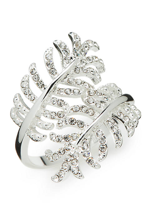 Silver-Tone Crystal Pave Leaf Wrap Boxed Ring