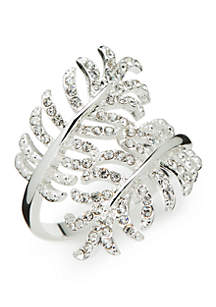 New Directions® Silver-Tone Crystal Pave Leaf Wrap Boxed Ring