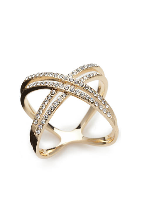 New Directions® Gold-Tone Crystal Pave Double X Band