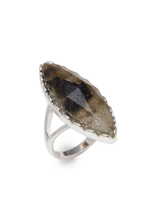 Boxed Diagonal Silver Labradorite Ring