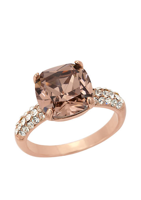 Rose Gold-Tone Crystal Cushion Cut Pave Boxed Ring