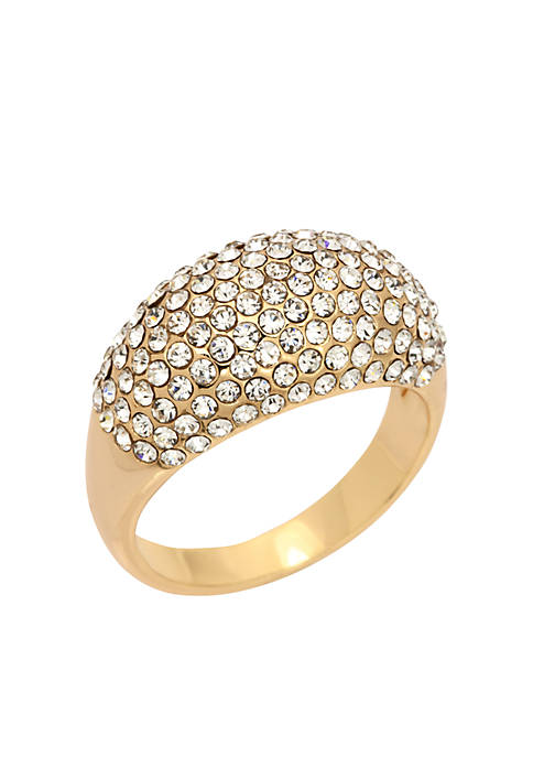 Gold-Tone Crystal Pave Dome Band Boxed Ring