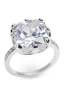Boxed Large Cushion Cut Cubic Zirconia Ring