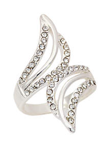 Silver-Tone Pace Crystal Open Wrap Ring