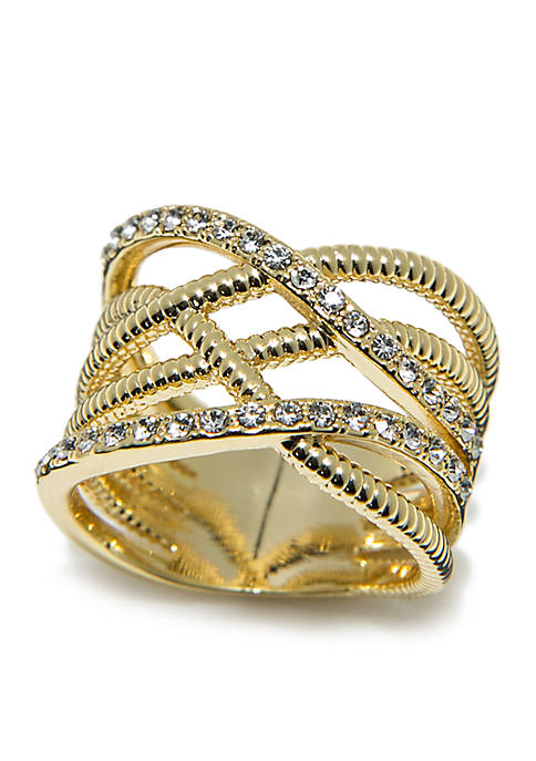 Gold-Tone Pave Crystal Roped Ring