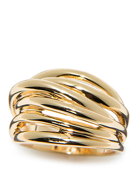 Gold-Tone Multi Band Ring