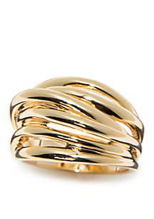 Gold-Tone Multi Band Ring