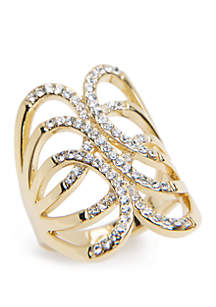 Gold-Tone Crystal Pave Oblong Ring