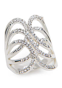 Silver-Tone Crystal Pace Oblong Ring