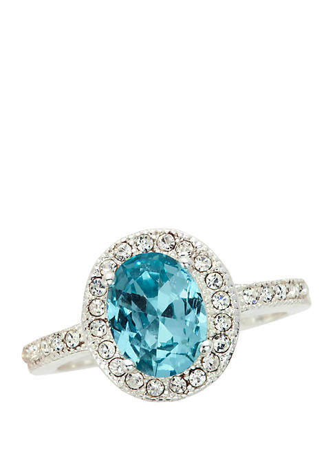 Oval Stone Pave Ring