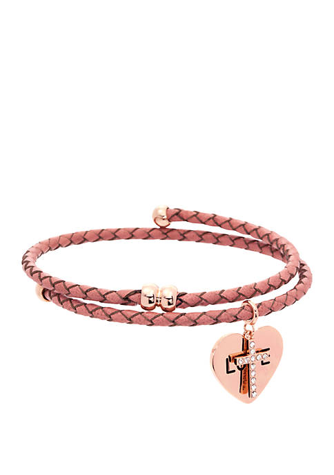 Boxed Crystal Coil Leather Bracelet