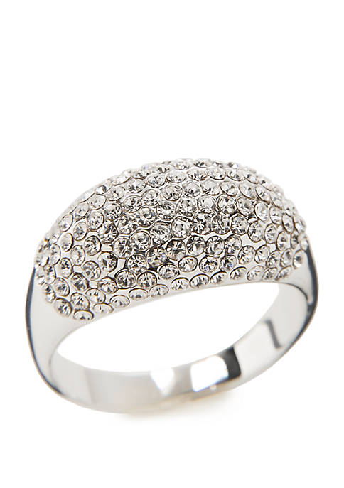 Silver Tone Crystal Pave Dome Ring